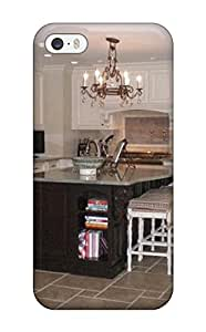 Premium Neutral Traditional Kitchen With Black Island And White Cabinetry Back Cover Snap On Case For Iphone 5/5s