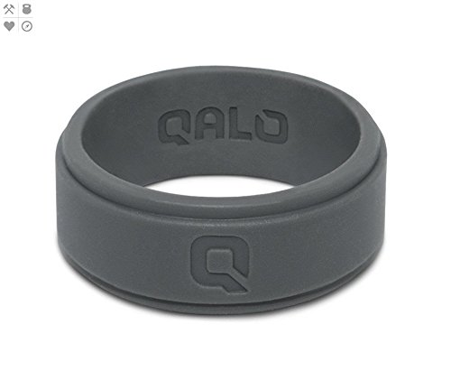 QALO Men's Charcoal Grey Step Edge Q2X Silicone Ring, Size 11