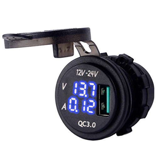 DecoStain Quick Charge 3.0Amp Blue LED Voltmeter& Indictator Digital Display Car Boat Motorcycle by DecoStain