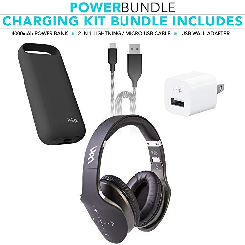 Sideswipe Hat - IHip Side Swipe Touch Control Wireless Bluetooth Headphones Over Ear - Foldable, Soft Memory-Protein Earmuffs, W/Built-in Mic Wired Mode PC/Cell Phones/TV