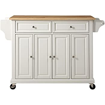 Amazoncom Crosley Furniture Rolling Kitchen Island With Natural - Crosley kitchen island cart natural wood top