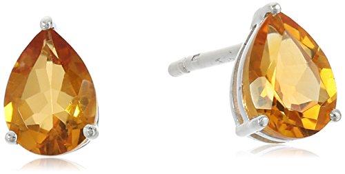 Sterling Silver Madeira Citrine Pear Shape November Birth Stone Stud (Pear Shape Citrine Earrings)