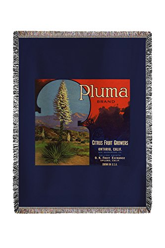 (Lantern Press Pluma Brand - Upland, California - Citrus Crate Label 57642 (60x80 Woven Chenille Yarn Blanket))