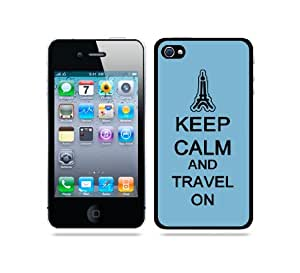 Keep Calm And Travel On Aqua - Protective Designer BLACK Case - Fits Apple iPhone 4 / 4S / 4G