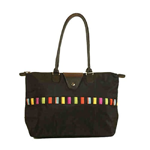 (Fold-Up Tote Bag with Long Handle - Black/Multi )