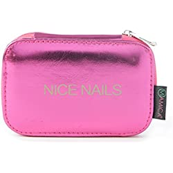 "Miamica Trendy Hot Pink and Metallic Gold 5 Piece Mani-Pedi ""Nice Nails"" Manicure Kit Case Travel Organizer Case"
