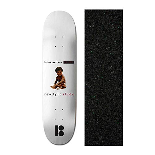 (Plan B Felipe Notorious Black Ice 8 inch Skateboard Deck with Mob Glitter Grip Tape)