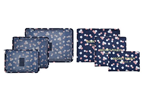 6 sets travel Organizers Packing Cubes Luggage Organizers Compression Pouches (Navy Daisy)