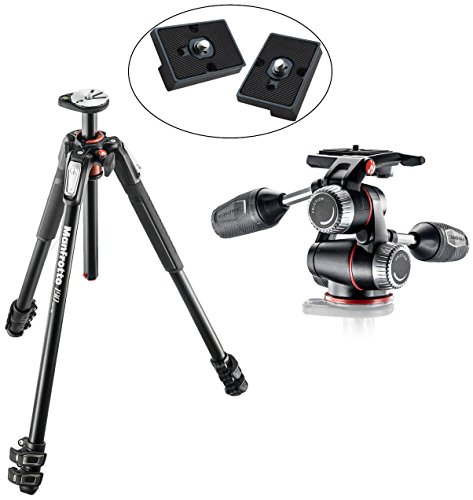 Manfrotto MT190XPRO3 3 Section Aluminum Tripod Kit w/ MHXPRO3W X-PRO 3-Way Head w/Retractable Levers and Friction Controls w/ Two Replacement Quick Release Plates for the RC2 Rapid Connect Adapter -