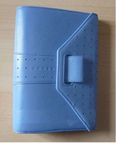 Cross Autocross Corn Flower Blue Italian Full Grain Pebbled Leather, Personal Agenda with Customed Cross - Personal Cross Agenda