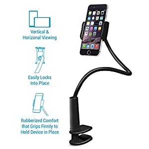 Aduro Solid-Grip 360 Adjustable Universal Gooseneck Smartphone Stand for Desk – Durable, Rubberized, Mount w/ Holder (White)