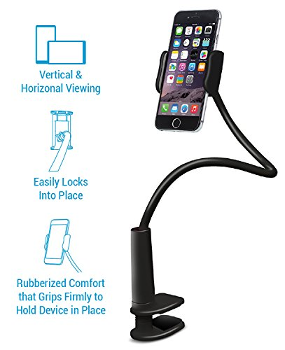 Aduro Solid-Grip 360 Adjustable Universal Gooseneck Smartphone Stand for Desk – Durable, Rubberized, Mount w/Holder (Black) by Aduro (Image #2)