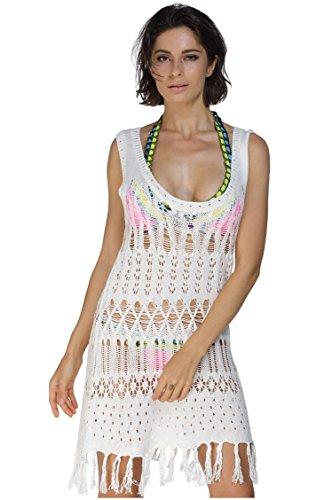 Women Summer Tassels Sleeveless Sun Block Beach Knitwear Long Hollow Rash Guard Cover-Ups Sundress (One Size, White)