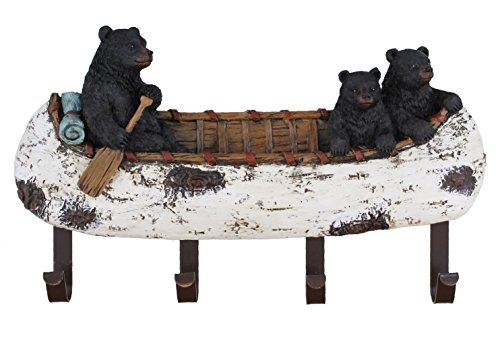 - Old River Outdoors Black Bear and Cubs Paddling a Canoe Decor - 4 Peg Decorative Wall Mount Hook