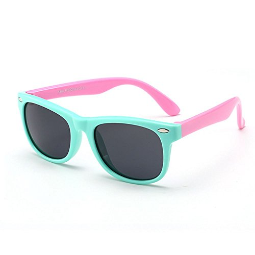 TPEE Rubber Flexible Kids Toddler Polarized Wayfarer Sunglasses Age 3-10,UV Protection (Mint Green Frame/Pink Frame)