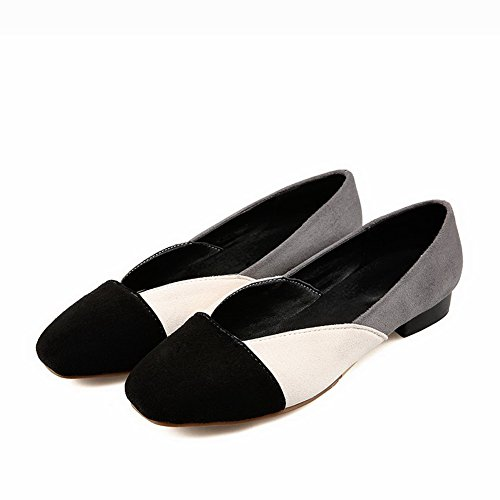 VogueZone009 Women's Imitated Suede Low-Heels Square Closed Toe Pull-On Pumps-Shoes Beige k4EM3lwuHe