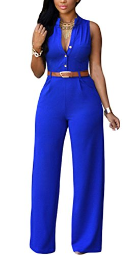 roswear Women's Sexy Plunge V Neck Belted Wide Leg Jumpsuits Romper Royal Blue Medium -