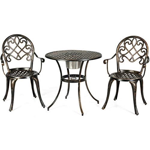 - 3 Pcs Pool Side Cast Aluminum Chair Table Patio Bistro Outdoor Set w/Removable Ice Bucket - Antique Bronze with Ebook
