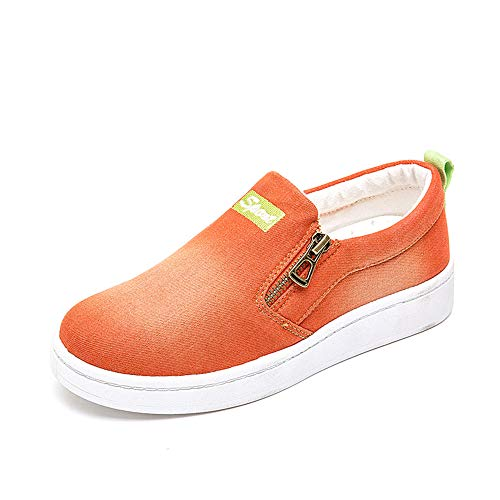 Another Summer Women's Slip-on Casual Sneakers Fashion Zipper Denim Canvas Loafers Orange