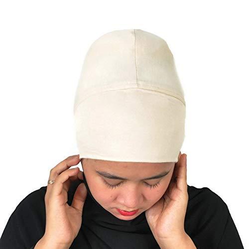 Silk Story Hijab Turban Bun Underscarf Chemo Cap Volumizer Hair Loss Cotton Lycra (Cream)