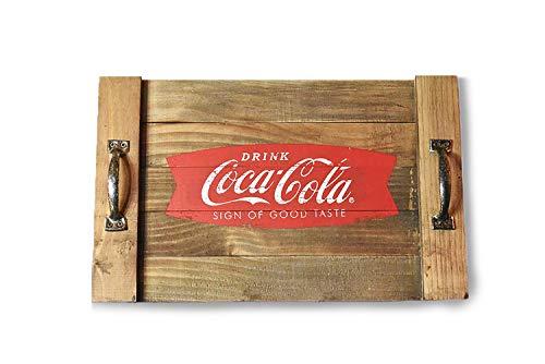 youngs Inc Wood Drink Coca Cola Tray, - Coca Tray Tin Cola