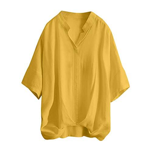 Answerl⍣ Women's Summer 3/4 Sleeve Loose Casual Tee T-Shirt V Neck Irregular Hem Tops Blouse Yellow - 3 Suit 120's Button Wool