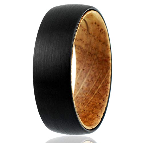 (King's Cross Gorgeous 8mm Brushed Satin Finish Black Tungsten Carbide Low Dome Band Ring with Whiskey Barrel Oak Wood Inner Band. (Tungsten (8mm), 9))