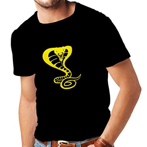 lepni.me Men's T-Shirt Tribal Cobra Snake Tattoo Reptile Lover Gift Ideas (XXXX-Large Black Yellow)