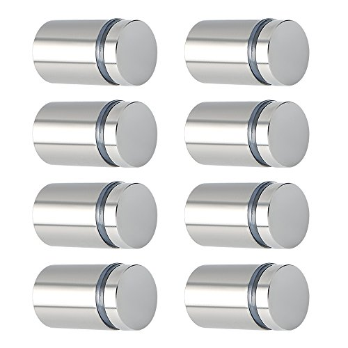 """Alise 3/4"""" Dia x 1"""" Ln Store Sign Holders Screws Wall Mount Hardware Advertising Glass Standoff Nail,QS519-8P Stainless Steel Brushed Nickel 8 Pcs"""