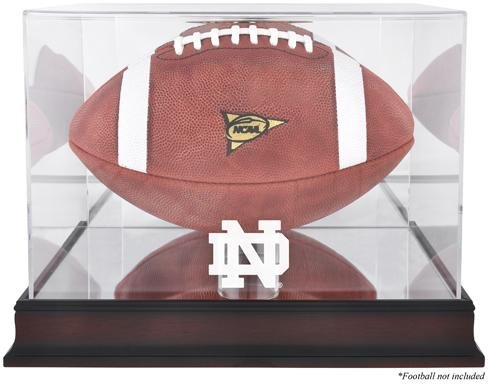 Notre Dame Fighting Irish Mahogany Base Logo Football Display Case with Mirror Back (Engraved Football Display Case)