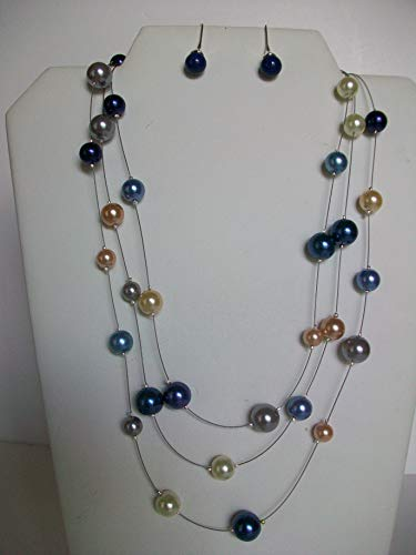 (3 Strand Pearl Illusion Necklace and Earrings)