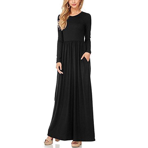 YS.DAMAI Women's Long Sleeve Maxi Dress Plain Loose Swing Casual Long Dresses With Pockets