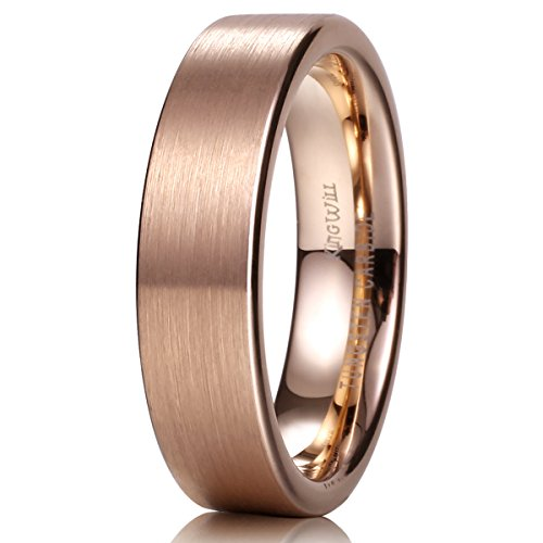 King Will GLORY Unisex 6mm 18K Rose Gold Tungsten Carbide Wedding Band Ring Pipe Cut Brushed Finish8.5