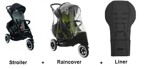 Phil and Teds Dot Stroller WITH Doubles Kit, Double Raincover, And 2 liners (Flint) by phil&teds (Image #1)