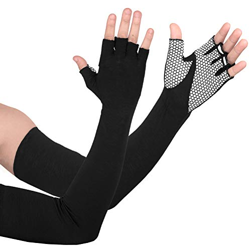 EXski UV Protection Cycling Sleeves - Cooling Sunblock Sunscreen Long Sleeve Gloves Anti Slip Palm Men Women Perfect for Driving Running Golfing Outdoor Activities