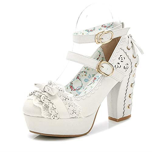 Japanese Style Sweet Bow Lace Princess Lolita Shoes Lace-up High Heel Buckle Strap Thick Platform Pumps