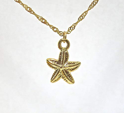 - Gold Starfish Pendant Necklace, Dainty and Minimalist Summer Beach Nautical gold plated Charm Necklace for Women and Girls, Handmade Bohemian Jewelry