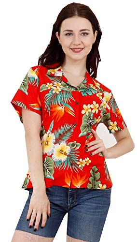 (Hawaiian Shirts 46W Womens Flower Leaf Beach Aloha Top Blouse Red L)