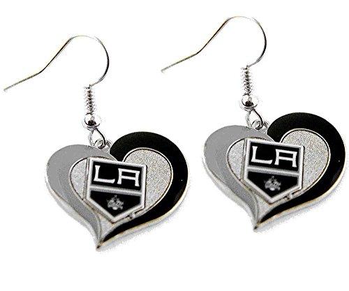 LA Los Angeles Kings Swirl Heart Earring NHL Dangle Logo Charm Gift ()