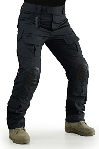 ZAPT Tactical Pants with Knee Pads Airsoft Camping Hiking Hunting BDU Ripstop Combat Pants 13 Kinds Army Camo Uniform Military Trousers (Solid Black, XL38)