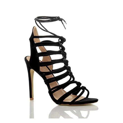 Ajvani Damen Hoch Absatz Reimchen Ausgeschnitten Schnür-Pumps Sandalen Schuhe Größe Schwarz Wildleder