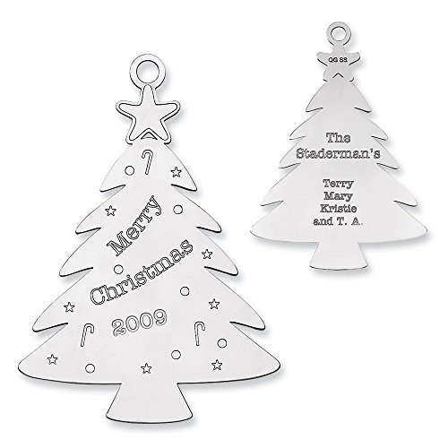 Sterling Silver Rhodium-plated Christmas Tree Ornament