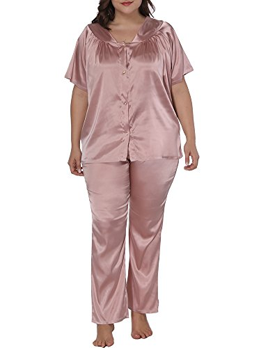 (Allegrace Women Plus Size Short Sleeve 2 Piece Pajama Sets Button Down Sleepwears Pink 2X)