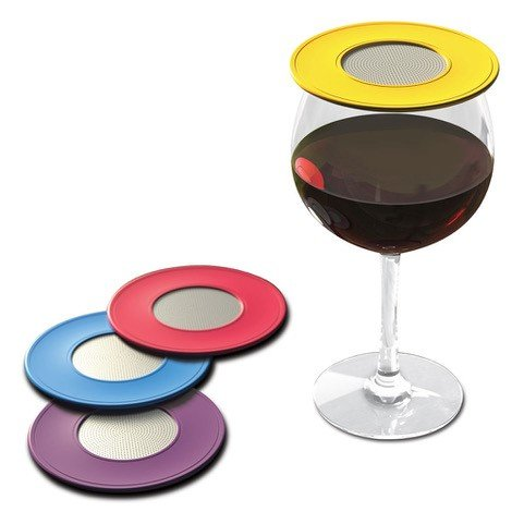 (Drink Tops Outdoor Ventilated Wine Glass/Drink Covers, 4pk- Vintage Pinot, Perfect Way to Keep Bugs Out, Aromas In, and Reduce Splashing)