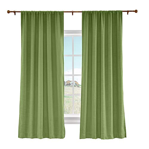 Curtain Liz (cololeaf Rod Pocket Curtain Liz Faux Linen Curtains Drapery Panel for Traverse Rod Ring Clip or Track for Living Room Bedroom,Green 100W x 96L Inch (1 Panel))