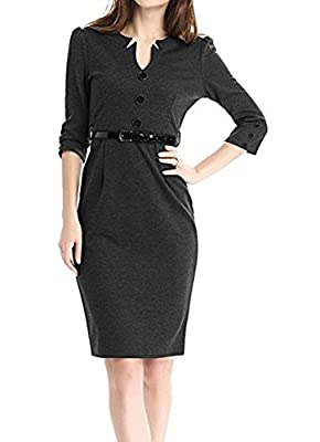 Colyanda Women's V-Neck 3/4 Sleeve Wear to Work Business Cocktail Pencil Dress