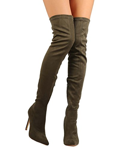 Liliana DB54 Women Suede Pointy Toe Thigh High Single Sole Stiletto Boot - Olive (Size: (Single Sole Boot)