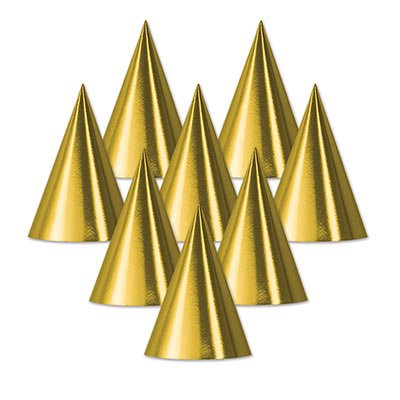 Beistle 66002-GD Foil Cone Hat, Gold - Pack Of -