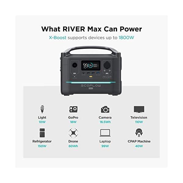 41iTQpVfI8L EF ECOFLOW Tragbare Power Station RIVER Max, 576 Wh Backup Lithium Batterie mit 3x 600 W (Peak 1200 W) AC Steckdosen…