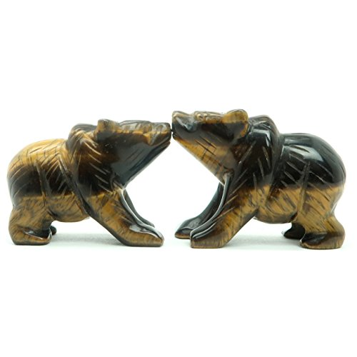 Mica Bear (Tigers Eye Bear 01 - Pair Brown Gemstone Carving Figurine Animal Set (2 Inches))